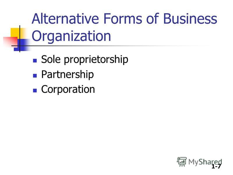 1-7 Alternative Forms of Business Organization Sole proprietorship Partnership Corporation