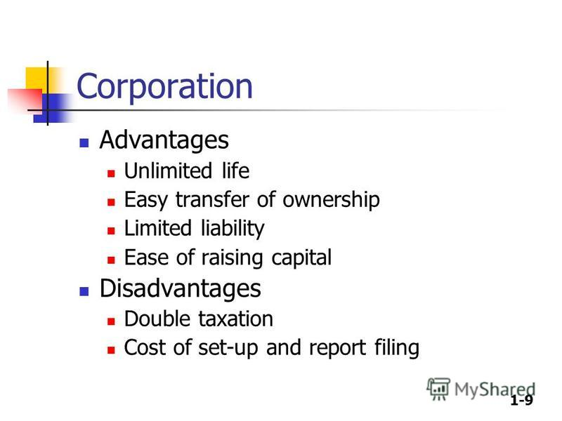 1-9 Corporation Advantages Unlimited life Easy transfer of ownership Limited liability Ease of raising capital Disadvantages Double taxation Cost of set-up and report filing