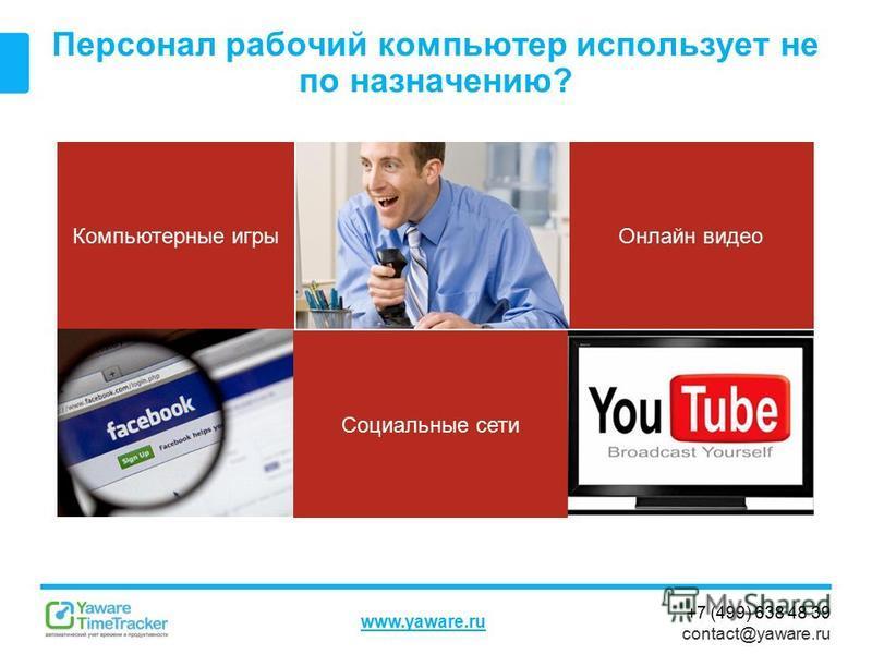 +7 (499) 638 48 39 contact@yaware.ru www.yaware.ru Персонал рабочий компьютер использует не по назначению? Компьютерные игры Социальные сети Онлайн видео