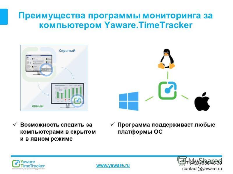 +7 (499) 638 48 39 contact@yaware.ru www.yaware.ru Преимущества программы мониторинга за компьютером Yaware.TimeTracker Программа поддерживает любые платформы ОС Возможность следить за компьютерами в скрытом и в явном режиме