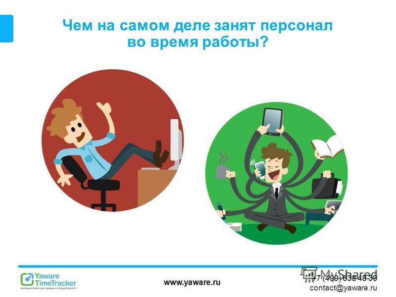 www.yaware.ru +7 (499) 638 48 39 contact@yaware.ru Чем на самом деле занят персонал во время работы?