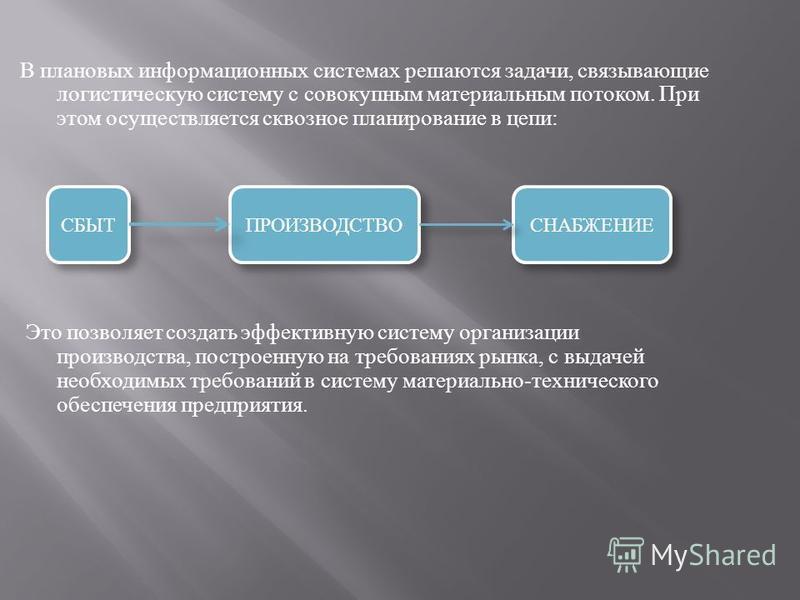 В плановых информационных системах решаются задачи, связывающие логистическую систему с совокупным материальным потоком. При этом осуществляется сквозное планирование в цепи : Это позволяет создать эффективную систему организации производства, постро
