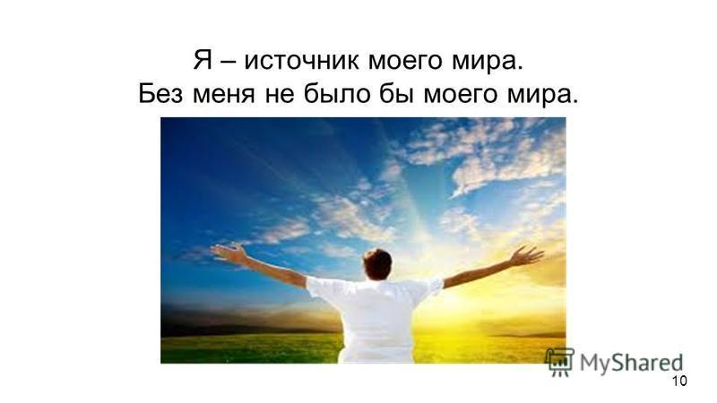 Я – источник моего мира. Без меня не было бы моего мира. Я – источник моего мира. Без меня не было бы моего мира. Для каждого человека есть только его мир. Но миры всех людей имеют то общее, что объединяет отдельные миры в один целый, единый мир. Поэ