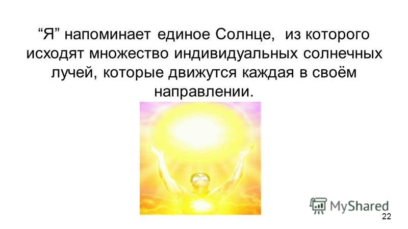Я напоминает единое Солнце, из которого исходят множество индивидуальных солнечных лучей, которые движутся каждая в своём направлении. Я напоминает единое Сердце, от которого ветвятся множество сосудов, каждое из которых выполняет свою индивидуальную