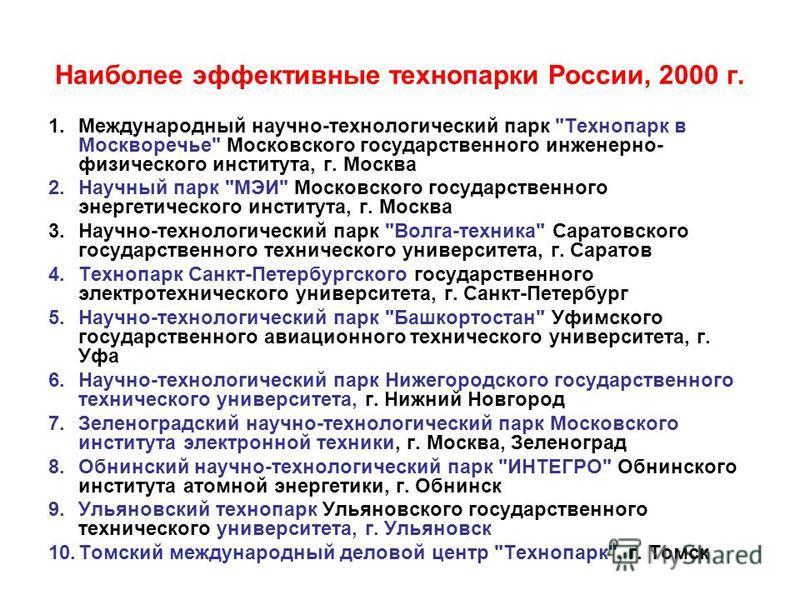 Наиболее эффективные технопарки России, 2000 г. 1. Международный научно-технологический парк