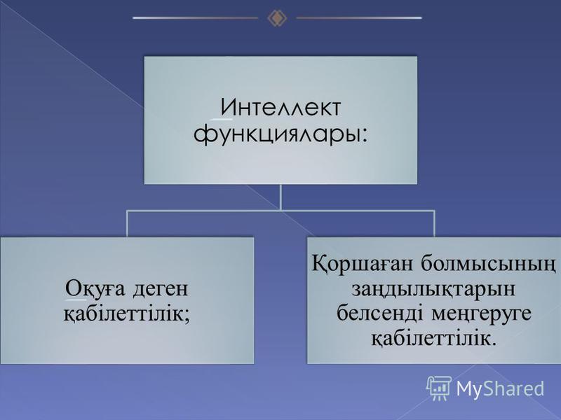 Интеллект функциялары: Оқуға деген қабілеттілік; Қоршаған болмысының заңдылықтарын белсенді меңгеруге қабілеттілік.