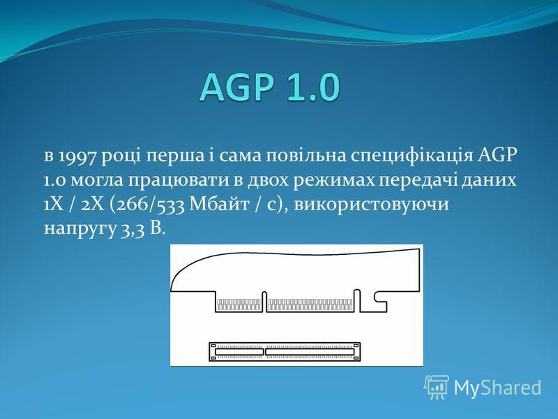 в 1997 році перша і сама повільна специфікація AGP 1.0 могла працювати в двох режимах передачі даних 1Х / 2Х (266/533 Мбайт / с), використовуючи напругу 3,3 В.