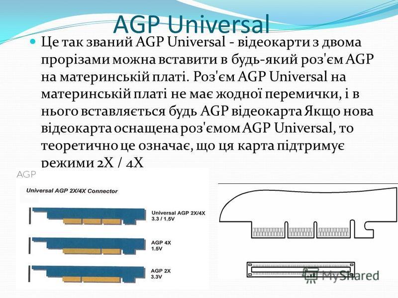 AGP Universal Це так званий AGP Universal - відеокарти з двома прорізами можна вставити в будь-який роз'єм AGP на материнській платі. Роз'єм AGP Universal на материнській платі не має жодної перемички, і в нього вставляється будь AGP відеокарта Якщо