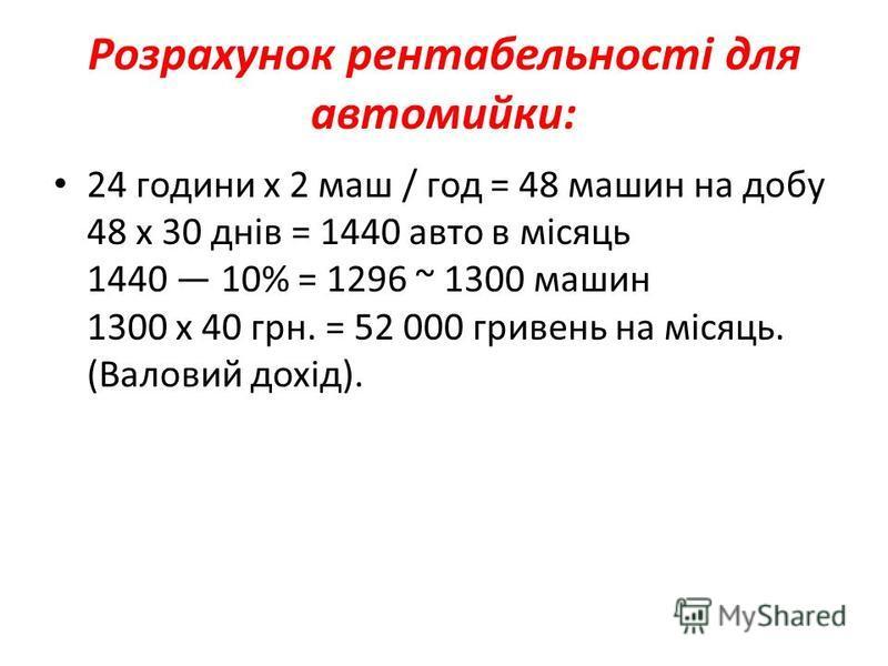 Розрахунок рентабельності для автомийки: 24 години х 2 маш / год = 48 машин на добу 48 х 30 днів = 1440 авто в місяць 1440 10% = 1296 ~ 1300 машин 1300 х 40 грн. = 52 000 гривень на місяць. (Валовий дохід).