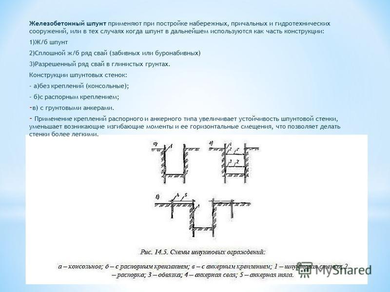 Железобетонный шпунт применяют при постройке набережных, причальных и гидротехнических сооружений, или в тех случаях когда шпунт в дальнейшем используются как часть конструкции: 1)Ж/б шпунт 2)Сплошной ж/б ряд свай (забивных или буронабивных) 3)Разреш