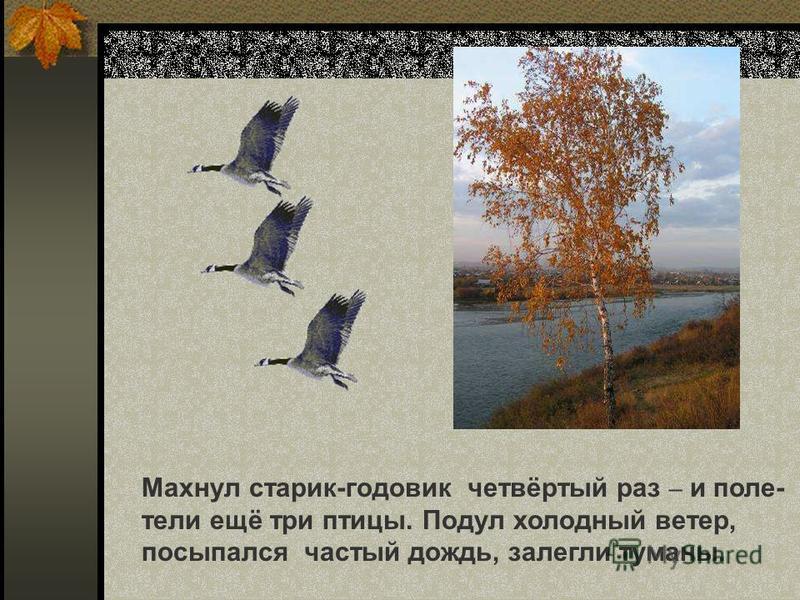 Махнул старик-годовик четвёртый раз – и полетели ещё три птицы. Подул холодный ветер, посыпался частый дождь, залегли туманы. Махнул старик-годовик четвёртый раз – и полетели ещё три птицы. Подул холодный ветер, посыпался частый дождь, залегли туманы
