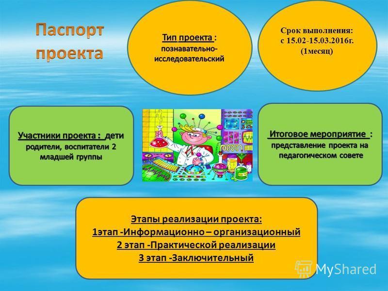 Срок выполнения: с 15.02-15.03.2016 г. (1 месяц) Этапы реализации проекта: 1 этап -Информационно – организационный 2 этап -Практической реализации 3 этап -Заключительный