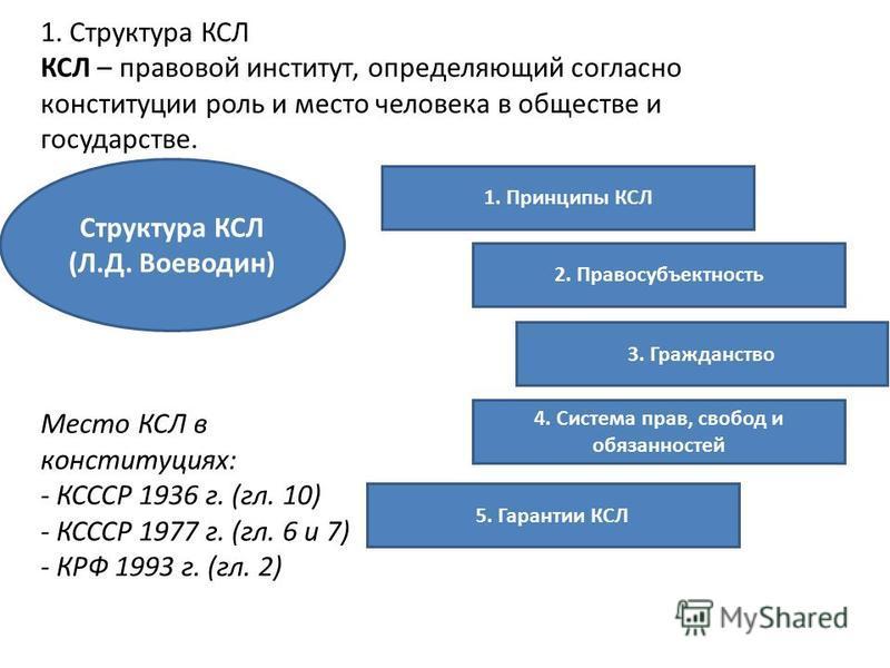 1. Структура КСЛ КСЛ – правовой институт, определяющий согласно конституции роль и место человека в обществе и государстве. Место КСЛ в конституциях: - КСССР 1936 г. (гл. 10) - КСССР 1977 г. (гл. 6 и 7) - КРФ 1993 г. (гл. 2) 1. Принципы КСЛ 5. Гарант