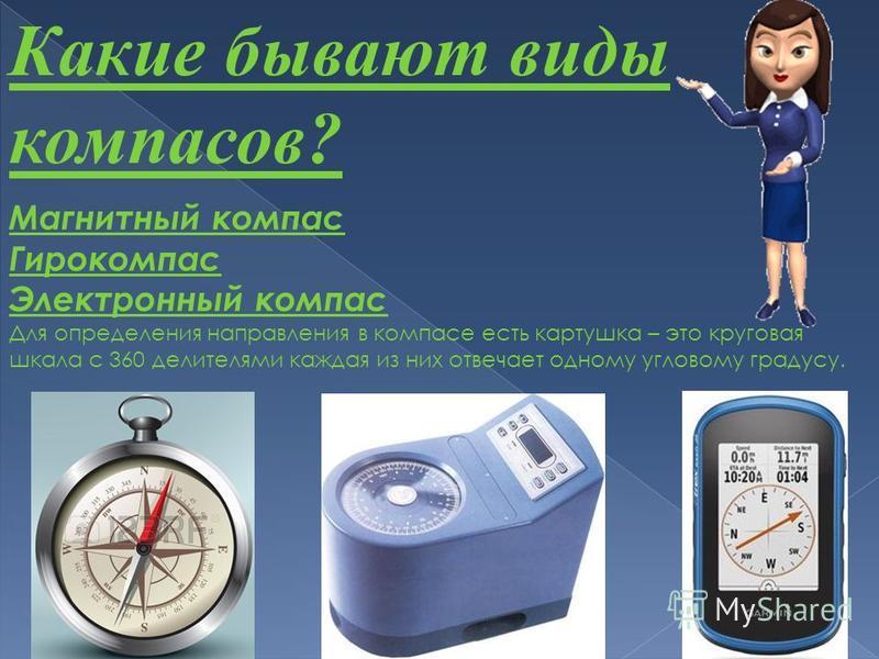 Какие бывают виды компасов? Магнитный компас Гирокомпас Электронный компас Для определения направления в компасе есть картушка – это круговая шкала с 360 делителями каждая из них отвечает одному угловому градусу.