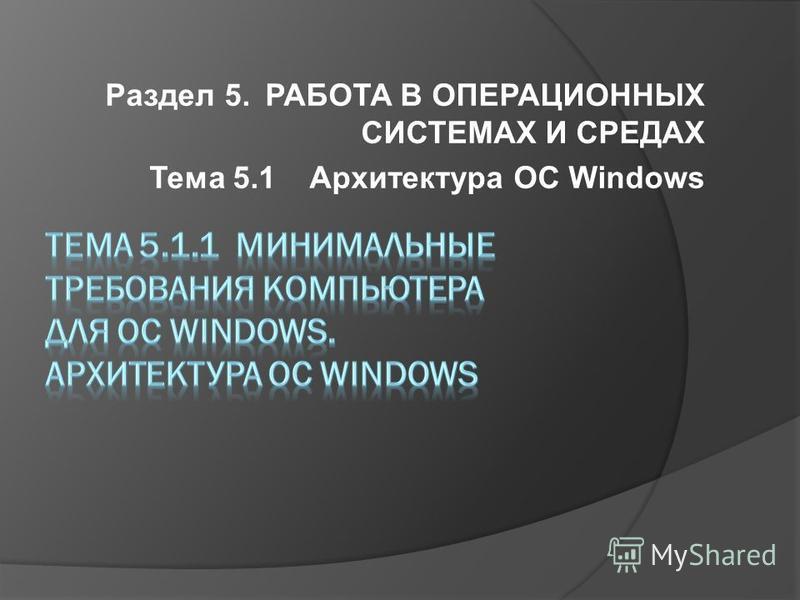 Раздел 5. РАБОТА В ОПЕРАЦИОННЫХ СИСТЕМАХ И СРЕДАХ Тема 5.1Архитектура ОС Windows