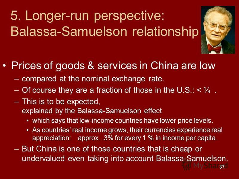 37 5. Longer-run perspective: Balassa-Samuelson relationship Prices of goods & services in China are low –compared at the nominal exchange rate. –Of course they are a fraction of those in the U.S.: < ¼. –This is to be expected, explained by the Balas