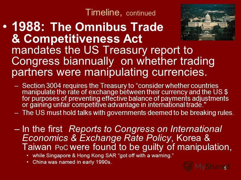 5 Timeline, continued 1988: The Omnibus Trade & Competitiveness Act mandates the US Treasury report to Congress biannually on whether trading partners were manipulating currencies. –Section 3004 requires the Treasury to consider whether countries man