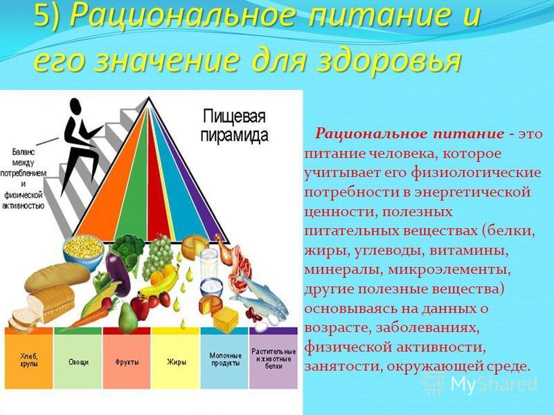 5) Рациональное питание и его значение для здоровья Рациональное питание - это питание человека, которое учитывает его физиологические потребности в энергетической ценности, полезных питательных веществах (белки, жиры, углеводы, витамины, минералы, м