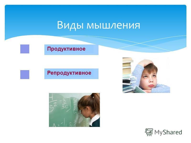 Репродуктивное Продуктивное Виды мышления