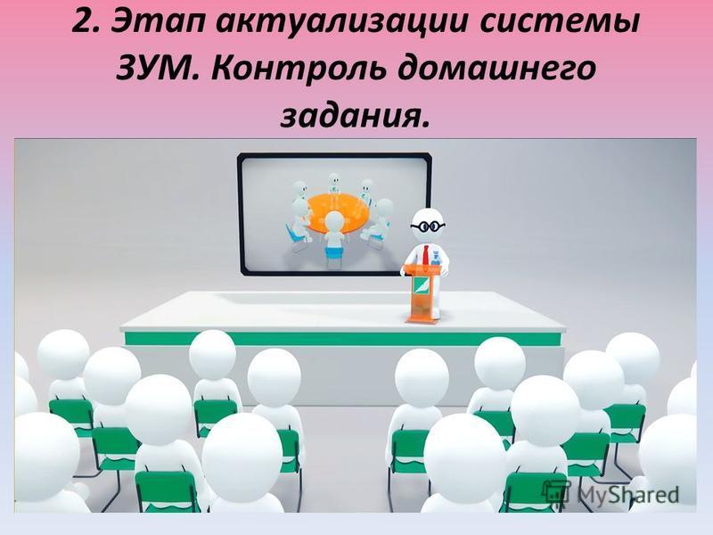 2. Этап актуализации системы ЗУМ. Контроль домашнего задания.