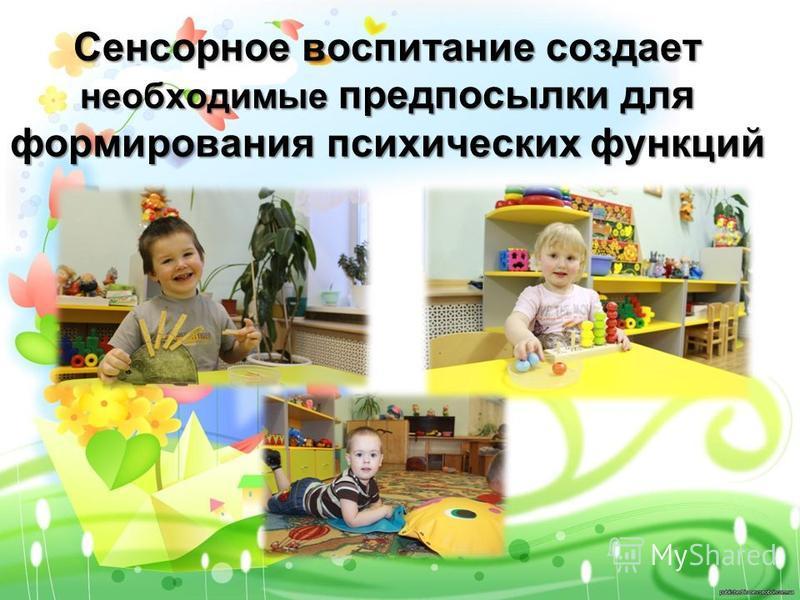 Сенсорное воспитание создает необходимые предпосылки для формирования психических функций