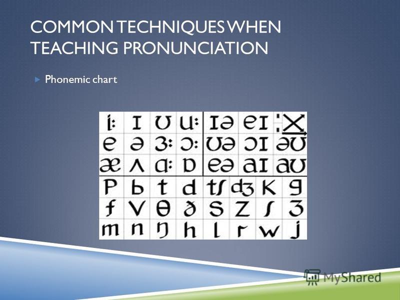 Phonemic chart COMMON TECHNIQUES WHEN TEACHING PRONUNCIATION