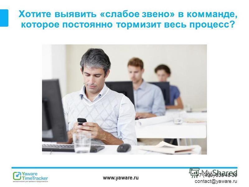 www.yaware.ru +7 (499) 638 48 39 contact@yaware.ru Хотите выявить «слабое звено» в команде, которое постоянно тормозит весь процесс?