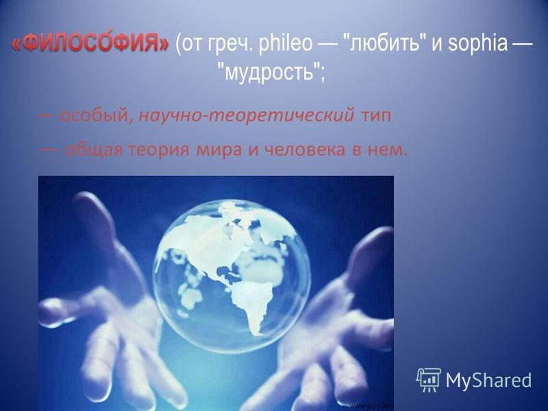 особый, научно-теоретический тип общая теория мира и человека в нем.