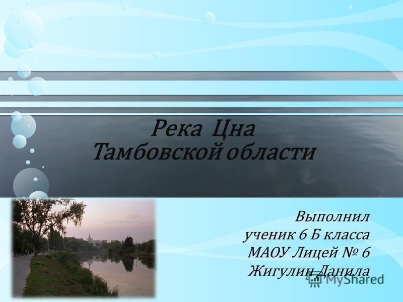 Река Цна Тамбовской области Выполнил ученик 6 Б класса МАОУ Лицей 6 Жигулин Данила