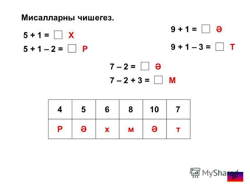 Мисалларны чишегез. 5 + 1 = 5 + 1 – 2 = 7 – 2 = 7 – 2 + 3 = 9 + 1 = 9 + 1 – 3 = Х Р Ә Ә М Т 4568107 РӘхмӘт
