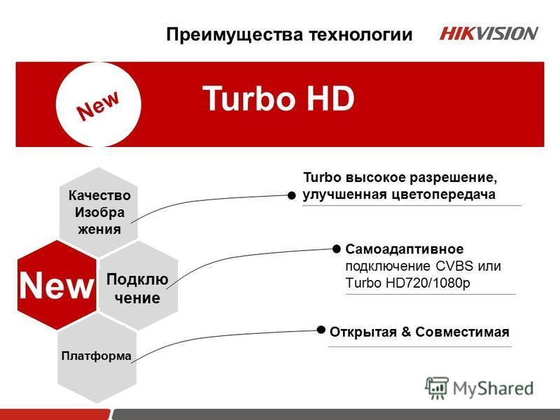 Turbo HD New Качество Изобра жения Подклю чение Платформа Turbo высокое разрешение, улучшенная цветопередача Самоадаптивное подключение CVBS или Тurbo HD720/1080p Открытая & Совместимая Преимущества технологии