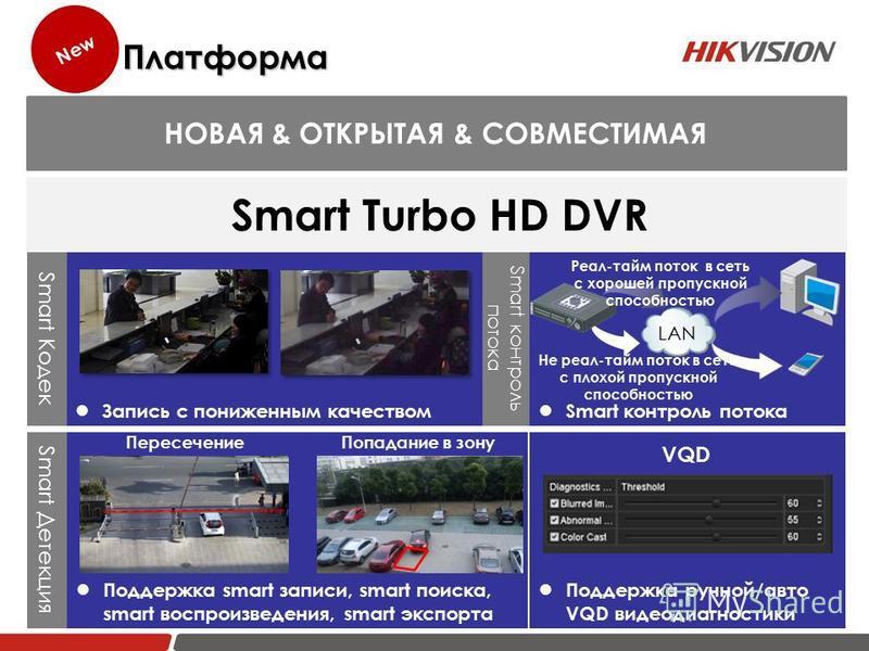 Smart Кодек Запись с пониженным качеством Smart HDTVI Поддержка smart записи, smart поиска, smart воспроизведения, smart экспорта Пересечение Попадание в зону Smart Детекция Поддержка ручной/авто VQD видеодиагностики VQD Smart контроль потока Smart к