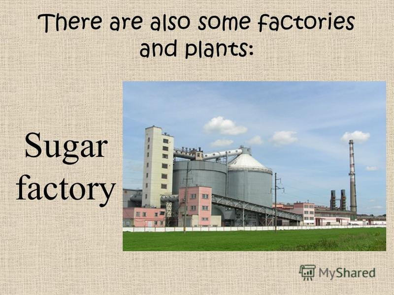 There are also some factories and plants: Sugar factory