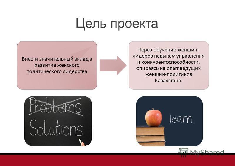 Цель проекта Внести значительный вклад в развитие женского политического лидерства Через обучение женщин- лидеров навыкам управления и конкурентоспособности, опираясь на опыт ведущих женщин-политиков Казахстана.