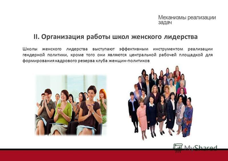 II. Организация работы школ женского лидерства Школы женского лидерства выступают эффективным инструментом реализации гендерной политики, кроме того они являются центральной рабочей площадкой для формирования кадрового резерва клуба женщин-политиков