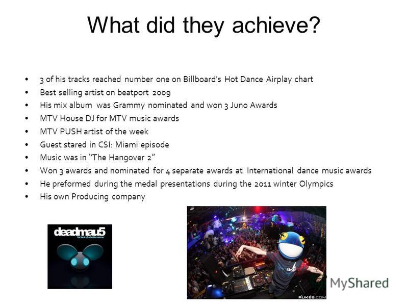 What did they achieve? 3 of his tracks reached number one on Billboard's Hot Dance Airplay chart Best selling artist on beatport 2009 His mix album was Grammy nominated and won 3 Juno Awards MTV House DJ for MTV music awards MTV PUSH artist of the we