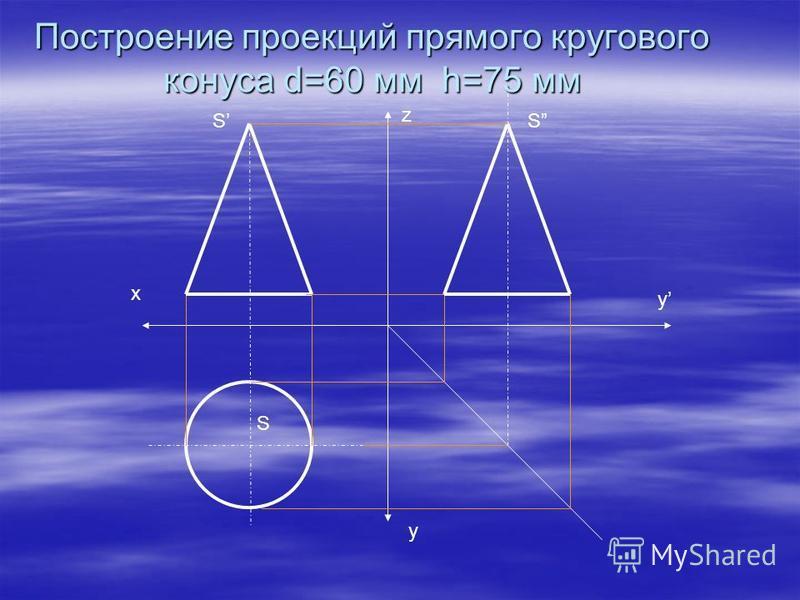 х у у z S S S Построение проекций прямого кругового конуса d=60 мм h=75 мм