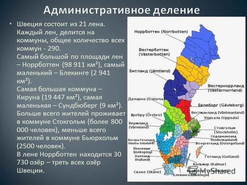 Швеция состоит из 21 лена. Каждый лен, делится на коммуны, общее количество всех коммун - 290. Самый большой по площади лен – Норрботтен (98 911 км ²), самый маленький – Блекинге (2 941 км ²). Самая большая коммуна – Кируна (19 447 км ²), самая мален