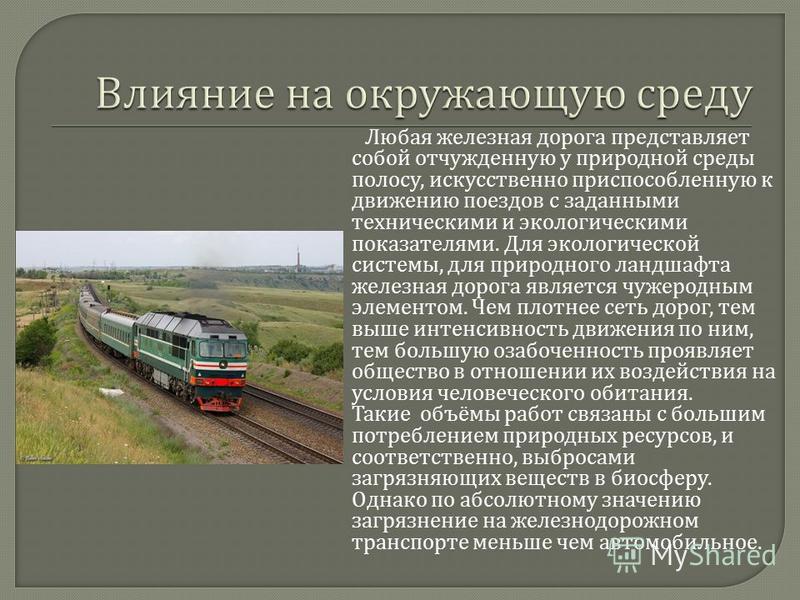 Любая железная дорога представляет собой отчужденную у природной среды полосу, искусственно приспособленную к движению поездов с заданными техническими и экологическими показателями. Для экологической системы, для природного ландшафта железная дорога
