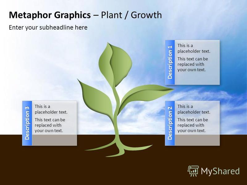 Metaphor Graphics – Plant / Growth Enter your subheadline here Description 1 This is a placeholder text. This text can be replaced with your own text. This is a placeholder text. This text can be replaced with your own text. Description 2 This is a p