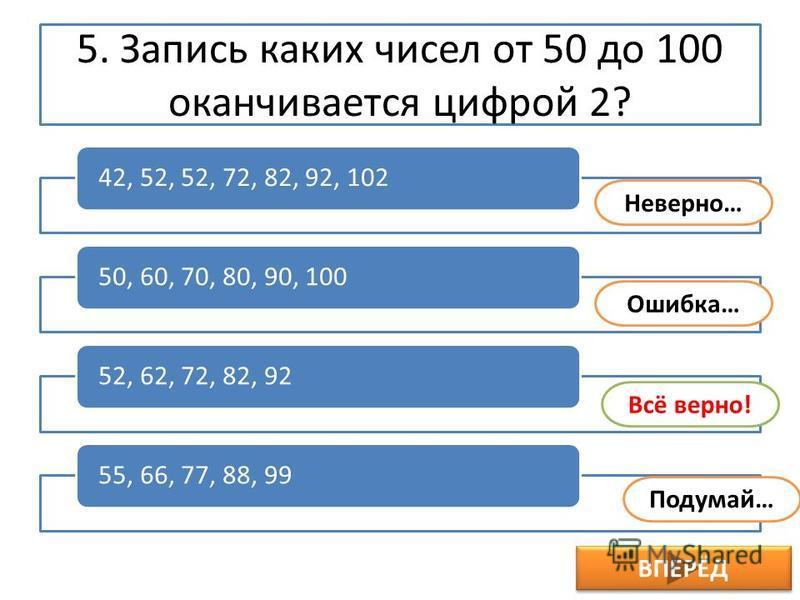 5. Запись каких чисел от 50 до 100 оканчивается цифрой 2? ВПЕРЁД 42, 52, 52, 72, 82, 92, 10250, 60, 70, 80, 90, 10052, 62, 72, 82, 9255, 66, 77, 88, 99 Ошибка… Подумай… Всё верно! Неверно…