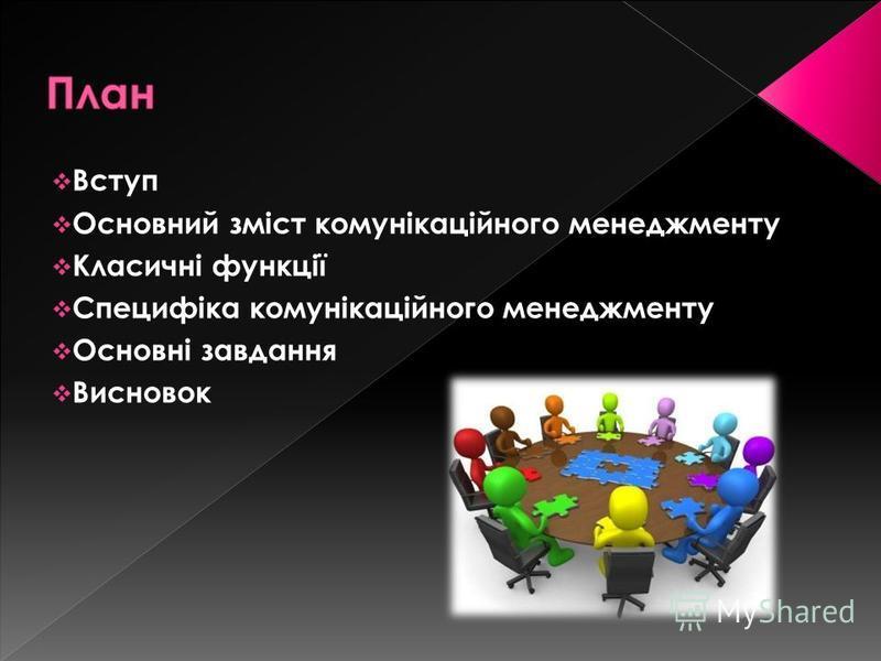 Вступ Основний зміст комунікаційного менеджменту Класичні функції Специфіка комунікаційного менеджменту Основні завдання Висновок