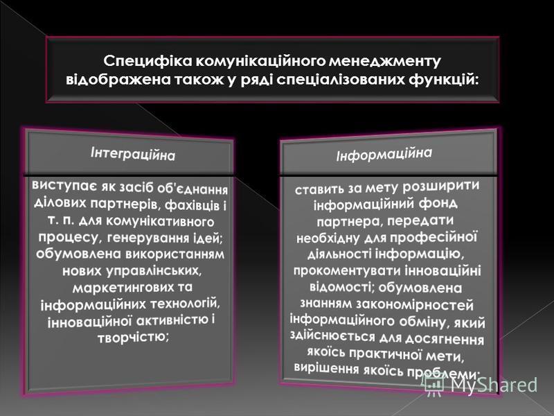 Специфіка комунікаційного менеджменту відображена також у ряді спеціалізованих функцій: