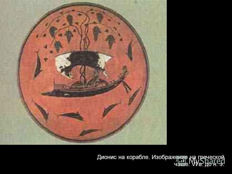Дионис на корабле. Изображение на греческой чаше. VI в. до н. э.