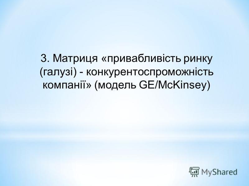 3. Матриця «привабливість ринку (галузі) - конкурентоспроможність компанії» (модель GЕ/McKinsey)