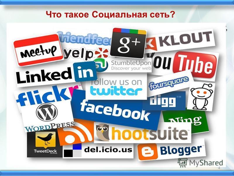 Социальная сеть платформа, онлайн-сервис или веб-сайт, предназначенные для построения, отражения и организации социальных взаимоотношений в Интернете. Популярность в Интернете социальные сети начали завоёвывать в 1995 году, с появлением американского