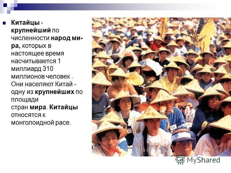 Китайцы - крупнейший по численности народ ми- ра, которых в настоящее время насчитывается 1 миллиард 310 миллионов человек. Они населяют Китай - одну из крупнейших по площади стран мира. Китайцы относятся к монголоидной расе.