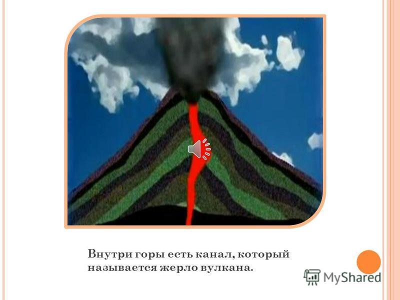 Вулкан представляет собой гору, в верху которой есть углубление. Такое углубление называется кратер.