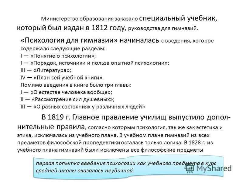Министерство образования заказало специальный учебник, который был издан в 1812 году, руководства для гимназий. «Психология для гимназии» начиналась с введения, которое содержало следующие разделы: I «Понятие о психологии»; I «Порядок, источники и п