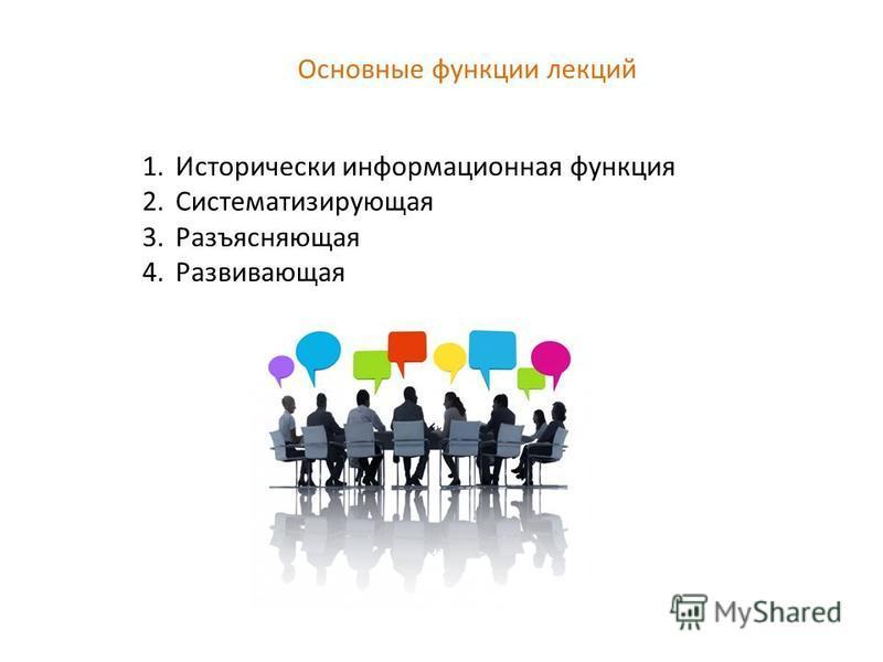 Основные функции лекций 1. Исторически информационная функция 2. Систематизирующая 3. Разъясняющая 4.Развивающая
